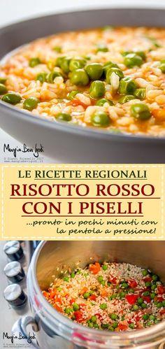 Risotto rosso con piselli. Una ricetta tradizionale veneta. Italian Cooking, Orzo, Rice Recipes, Macaroni And Cheese, Food And Drink, Vegetables, Ethnic Recipes, Savoury Dishes, Risotto