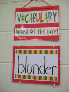 I made this Vocabulary Word of the Day poster. Each day a new vocabulary word is looked up.