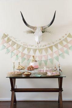 mint, pink and gold glitter triangle garlands are a cute DIY idea