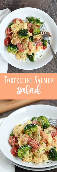 Keep the kitchen cool this summer with this light and delicious Tortellini Salmon Salad | cookingwithcurtls.com