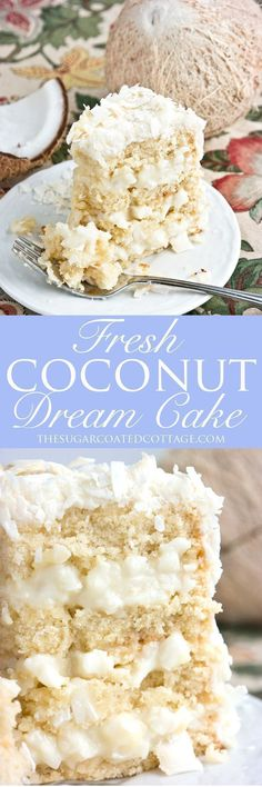 Fresh Coconut Dream Cake - The Sugar Coated Cottage Frischer Kokosnuss-Traumkuchen Food Cakes, Cupcake Cakes, Coconut Dream, Cake Recipes, Dessert Recipes, Best Cake Ever, Dream Cake, Cake Board, Cake Toppings