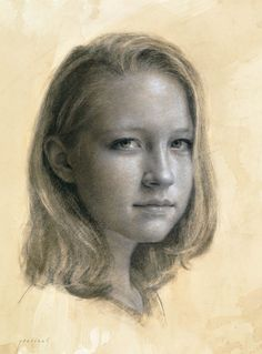 Cindy Procious ~ untitled portrait, 2011 (charcoal and white chalk on toned paper)