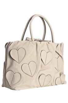 Dolce Gabbana Ivory Leather Heart Detail Handbag