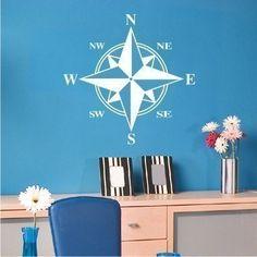 Compass Wall Decal - Vinyl Sticker Wall Art. $28.00, via Etsy. Custom to any size