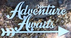 Adventure Awaits Metal Wall Art Sign / Silver / Nursery Decor / Room Decor / Wall Decoration / Baby Shower Gift / Handmade x