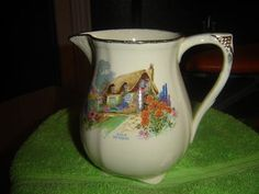 Alfred Meakin jug, with thatched roof English cottage scene. Vintage Kitchenware, Vintage Dishes, Alfred Meakin, Cottage Art, Country Cottages, Thatched Roof, Red Roof, Tea Cup Saucer, Cookie Jars