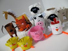 Making farm animals out of paper tubes
