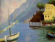 ORIGINAL OIL ON CANVAS - ITALIAN SEASIDE.,love it and have to have it:)
