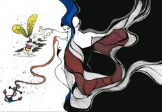 Love - eatingalia.it _ Dimensions: 297 x 420 mm _ Pantone Colors & Indian Ink #art #drawing #indianink