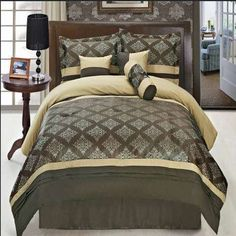 With Love Home Decor - Thomasville Coffee 11 Piece Bed in a Bag,  The colors of this set are a combination of Chocolate, Beige and Gold embroidery