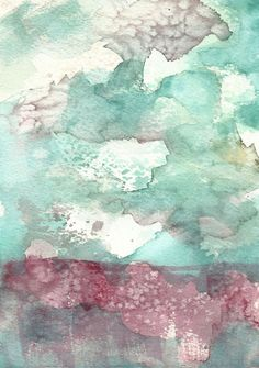 This abstract cloud painting in shades of teal and purple is an original watercolour inspired by a day at the seashore. Texture was created