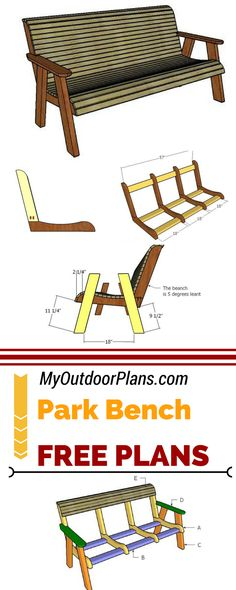Check out how to build a wood park bench using my free and step by step plans! This outdoor bench has an elegant look and you can learn how to build it at myoutdoorplans.com #diy #bench #woodworkingbench