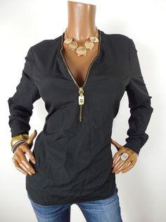 98c2347082632b MICHAEL KORS Womens Top M Black Shirt Gold MK INSIGNIA Zipper Long Slvs Hi  Low  MichaelKors  Blouse  Casual