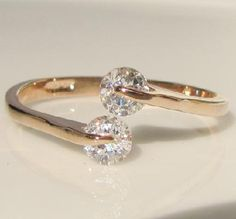 0.46 CT Round Swarovski Crystal Rose Gold GP Promise Engagement Ring, Size 7. on Luulla