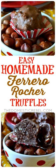These EASY Homemade Ferrero Rocher Truffles taste even BETTER than the real thing! Only a handful of ingredients, they come together pretty quickly and make a huge batch - great for gift-giving! Super chocolaty, nutty deliciousness!