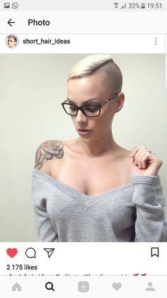 Rose shoulder tattoo blk and grey - New Site Short Choppy Hair, Long To Short Hair, Super Short Hair, Short Hair Cuts, Short Hair Styles, Pixie Hairstyles, Pixie Haircut, Cool Hairstyles, Shaved Undercut