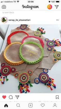 Best 12 Soirée agréable DM € pour information et commande … - Just DIY Crochet Diy, Freeform Crochet, Crochet Motif, Crochet Doilies, Crochet Flowers, Crochet Patterns, Crochet Table Mat, Crochet Placemats, Hemp Yarn