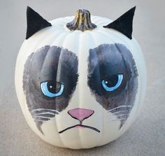 Grumpy Cat Pumpkin: You probably need some artistic skill to re-create this grumpy cat pumpkin. Description from pinterest.com. I searched for this on bing.com/images