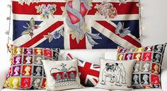 All things British: Union Jack wall hanging, royal stamps cushions