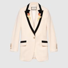 Flower embroidered wool jacket