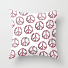 Far Too Pretty Peace Symbols Throw Pillow made from 100% spun polyester poplin fabric, a stylish statement that will liven up any room. Individually cut and sewn by hand, each pillow features a double-sided print and is finished with a concealed zipper for ease of care.  Sold with or without faux down pillow insert.