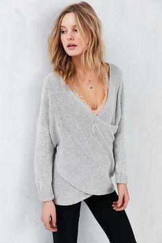 e4d3f6a40e1b94 Kimchi Blue Sunny Surplice Sweater #gray #vneck #oversize Cozy Sweaters,  White Sweaters