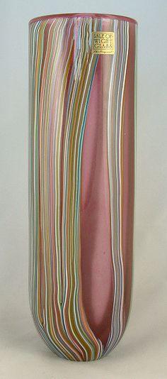 Zanfirico cylinder vase - Isle of WIght Art Glass