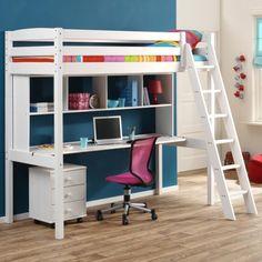Lit mezzanine avec plan de travail armoire tag res for Lit mezzanine rose avec bureau et armoire integres