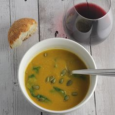 light and creamy butternut squash soup with spinach, spiced with sage and nutmeg for great fall flavor.