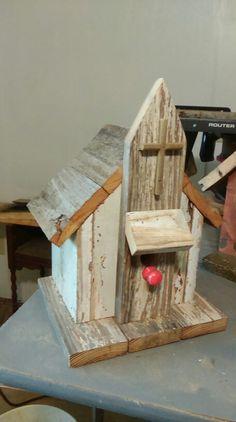 Take me down to the little white church birdhouse