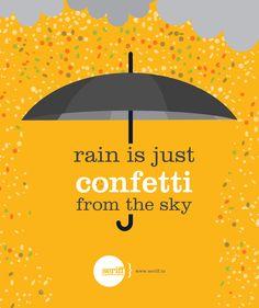 #rain #confetti #sky #clouds #weather #umbrella #raincoats #beautiful #graphic #design #Seriff