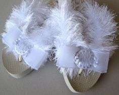 Brides & Wedding Flip Flops ~ For the funky bride, add some sparkle to these FuzzyFlops with Crystal Circle buttons.
