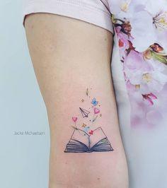Awe-inspiring Book Tattoos for Literature Lovers - Body Art - Tatoo Ideen Band Tattoos, Wrist Tattoos, Body Art Tattoos, Girl Tattoos, Tatoos, Flower Tattoos, Fashion Tattoos, Ribbon Tattoos, Sexy Tattoos
