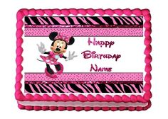 This fun edible cake image would be perfect for your Zebra Minnie Mouse birthday party celebration.  Simply apply it to any home baked birthday cake.  It can even be personalized with your daughter's name.