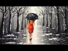 Lady with Black Umbrella Acrylic Painting - YouTube