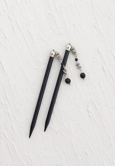 "Lilla Rose Inc - Hair sticks with black and silver dangle beads - Includes two 5"" black stics"