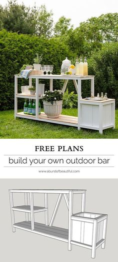 Entertaining + Outdoor Bar Summer entertaining is easy with this beautiful DIY outdoor bar + free plans.Summer entertaining is easy with this beautiful DIY outdoor bar + free plans.