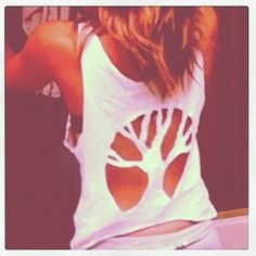 DIY tank top tree cut out. Stencils are so easy to make just think what fun images you could cut out! Hippie Style, Style Hipster, Gypsy Style, Diy Kleidung, Refashioning, Diy Clothing, Clothes Refashion, Hippie Clothing, T Shirt Diy