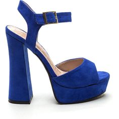 Far Out Chunky Heels BLUE ($27) ❤ liked on Polyvore featuring shoes, pumps, blue, blue pumps, ankle strap platform pumps, peep-toe pumps, high heel platform pumps and chunky heel shoes