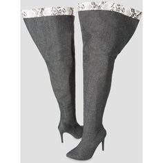 Ashley Stewart Denim Thigh High Boot - Wide Calf, Wide Width (130 CAD) ❤ liked on Polyvore featuring shoes, boots, over-the-knee boots, faux-fur boots, denim thigh-high boots, high heel boots, thigh boots and wide calf over the knee boots