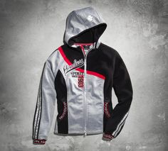 Just what you've been searching for. The bonded fleece offers warmth and wind protection without the bulk of a heavy jacket. Sporty details on this women's casual jacket include reflective material, contrasting stripes, and custom trim on pockets and cuffs. | Harley-Davidson Women's Heather Fleece Hooded Jacket