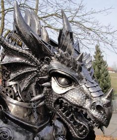 Recycled Metal Made into Steampunk Sculptures « Steampunk R Exquisite dragon! Dragon Head, Dragon Art, Steampunk, Sculpture Metal, Lion Sculpture, Abstract Sculpture, Art Sculptures, Magical Creatures, Fantasy Creatures