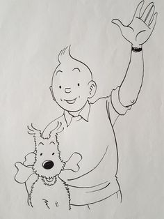 Rodier, Yves - original drawing- Tintin & Milou 1993 - W. Surfboard Art, Skateboard Art, Hand Embroidery Videos, Ligne Claire, Pine Cone Crafts, Any Book, Graphic Design Illustration, Comic Books Art, Doodle Art