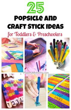 tons of awesome ideas to keep your toddler or preschooler occupied and learning with popsicle sticks!