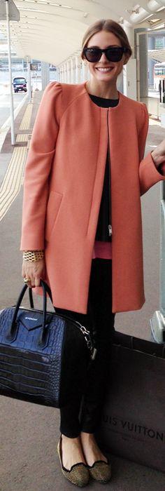 Olivia Palermo: Jacket – Zara  Purse – Givenchy  Shoes – SchoShoes  Pants – Daryl K