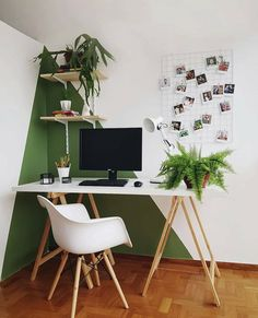 Home office inspiration with scandinavian desk and chair, green and white wall, . - Home Office Inspiration - Modern Office Decor, Home Office Design, Home Office Decor, Home Decor, Modern Home Office Paint, Wood Office Ideas, Home Office Paint Ideas, Retro Office, Office Designs