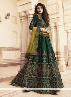 Dark Green Colour Barfi Silk Fabric Party Wear Lehenga Choli Comes With Matching Blouse. This Lehenga Choli Is Crafted With Embroidery. This Lehenga Choli Comes With Stitched Blouse Which Can Be Stitc. Green Lehenga, Silk Lehenga, Lehenga Skirt, Saree Dress, Mehndi Dress, Indian Bridal Lehenga, Indian Bridal Wear, Indian Wear, Indian Gowns
