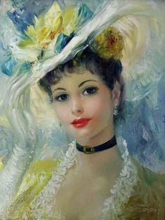 Painting by Frederic John Lloyd Strevens Victorian Art, Victorian Women, Painting People, Woman Painting, Vintage Pictures, Vintage Images, Vintage Prints, Vintage Art, Vintage Ladies