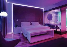 NH Hotel Group's new 'mood' rooms take personalisation to the next level Neon Bedroom, Bedroom Setup, Room Ideas Bedroom, Bedroom Decor, Aesthetic Room Decor, Home Room Design, Dream Rooms, Cool Rooms, Luxurious Bedrooms