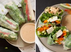 summer rolls with spicy peanut dipping sauce    http://cookieandkate.com/2012/summer-rolls-with-spicy-peanut-sauce/?utm_source=feedburner_medium=feed_campaign=Feed%3A+CookieAndKate+%28Cookie+and+Kate%29